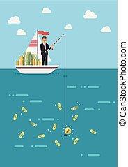 Businessman with idea fishing money