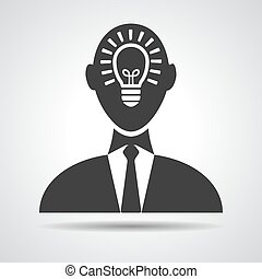 Businessman with idea in head icon - vector illustration