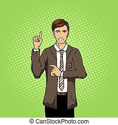 Businessman with idea pop art style vector