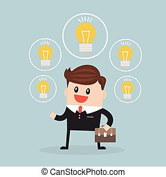 businessman with ideas, flat design vector.