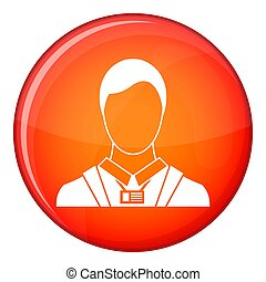 Businessman with identity name card icon