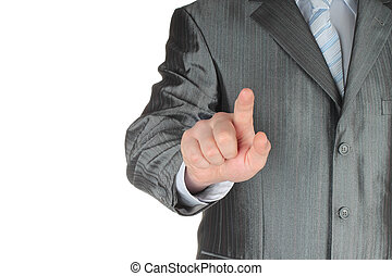Businessman with indicating hand on white background