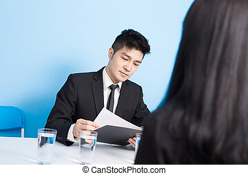 businessman with interview