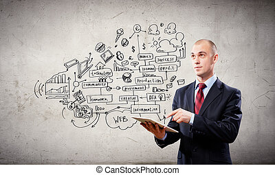Businessman with ipad - Handsome bold businessman holding...