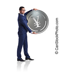 Businessman with japanese yen coin isolated on white background
