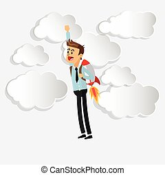 businessman with jetpack icon