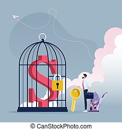 Businessman with key to unlock dollar sign in a bird cage-Business concept