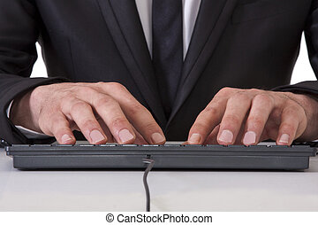 businessman with keyboard