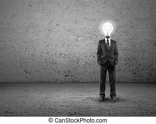 man with lamp-head - businessman with lamp-head on a...
