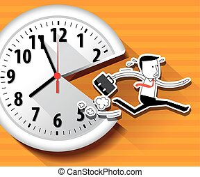 businessman with lange clock.eps - Vector of large wall...