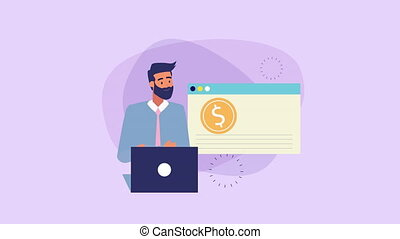 businessman with laptop and money animation