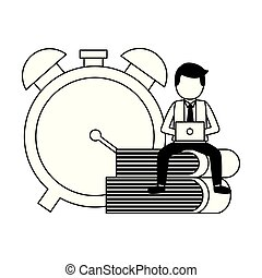 businessman with laptop clock
