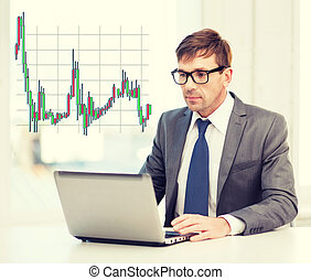businessman with laptop computer and forex chart