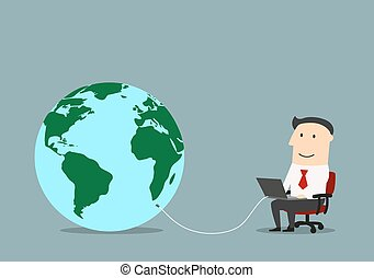 Businessman with laptop connected to a globe