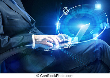 Businessman with laptop in computing concept
