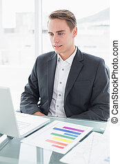 Businessman with laptop sitting at office desk