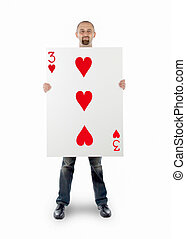 Businessman with large playing card