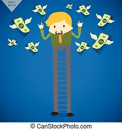 Businessman with legs as a ladder and money wings