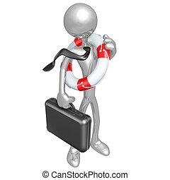 Businessman With Lifebuoy - A Concept And Presentation...