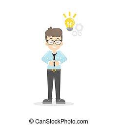 Businessman with light bulb.