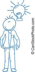 businessman with light bulb doodle