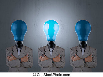 businessman with light bulb head as looking for the talent conce