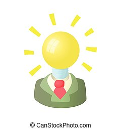 Businessman with light bulb head icon