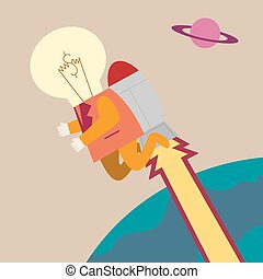 Businessman with light bulb on head in rocket