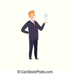 Businessman with light bulb, successful business character having idea vector Illustration on a white background