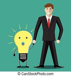 Businessman with lightbulb baby