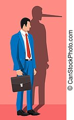 Businessman with long nose shadow on wall.