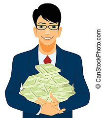 Businessman with lot of money