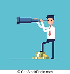 Businessman with lots of money looking through a telescope. The manager seeks investment prospects. Man makes plans for the future. Character in a flat style. Vector image isolated on blue background.
