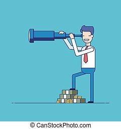 Businessman with lots of money looking through a telescope. The manager seeks investment prospects. Man makes plans for the future. Character in a flat style. Thin line vector illustration.