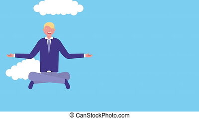 businessman with lotus position avatar character , 4k video...