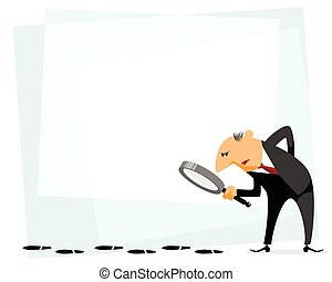 Businessman with loupe