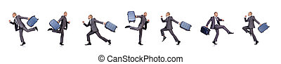 Businessman with luggage on white