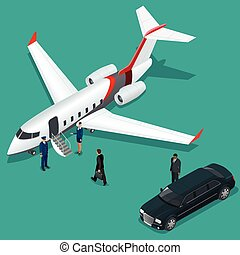 Businessman with luggage walking towards private jet at...