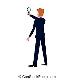 businessman with magnifier
