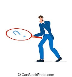 Businessman With Magnifier Looking Clue Vector Illustration