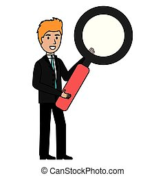 businessman with magnifying glass character