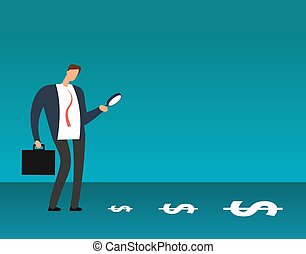 Businessman with magnifying glass looking at dollar symbols. Searching for profit business vector concept