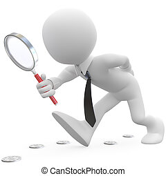 Businessman with magnifying glass looking for coins. Image of an isolated white character. Rendered on a white background with diffuse shadows.