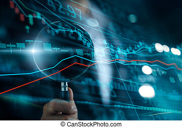 Businessman with magnifying glass search of investing and stock market. Gain and profits with candlestick charts. Stock Market Analysis. Finance data concept.