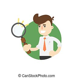 Businessman with magnifying glass vector icon