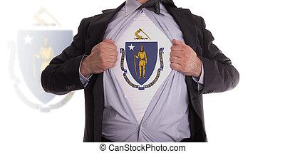 Businessman with Massachusetts flag t-shirt