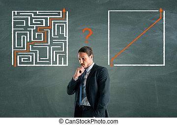 Businessman with maze