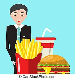 Businessman with Meal and Drink. Vector Business Man with Fast Food on Blue Background.