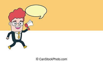 businessman with megaphone and speech bubble avatar...