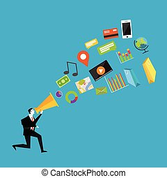 Businessman with megaphone. Digital marketing concept.